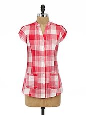 Red Plain Cotton Top With Puff Sleeves - By