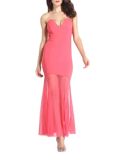 7b1b25909053c Buy Coral Pink Solid Maxi Dress for Women from Truebrowns for ₹1487 ...