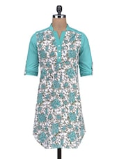 Sea Green And White Cotton Floral Print Kurti - By