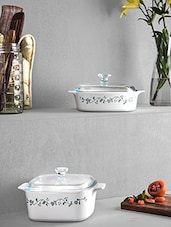 White Ceramic Casseroles With Lid (Set Of 2) - By