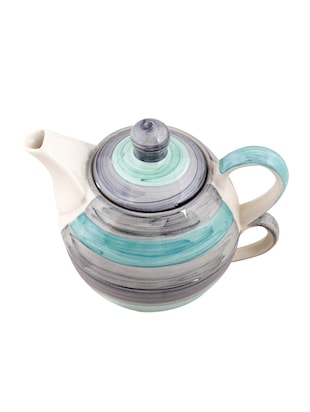 VarEesha Twirling Green Hand crafted By Rural Artisans  Ceramic Cup with Kettle Set of 2 - 12399431 - Standard Image - 4