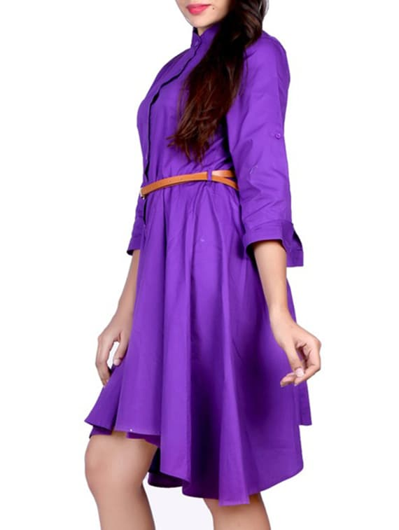 4508d74a059b Buy Purple Cotton Shirt Dress by Mayloz E-commerce - Online shopping for Dresses  in India