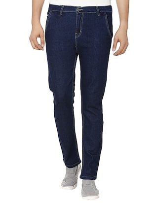 blue cotton slim fit jeans -  online shopping for Jeans