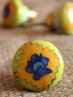 Brightly Hued Ceramic Knobs (Set Of 6) - NEERJA