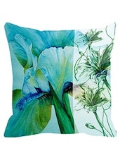 Leaf Designs Sketched Floral Sea Green Cushion Cover -  online shopping for Cushion Covers