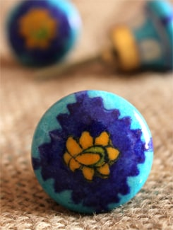 Blue Ceramic Knobs (Set Of 6) - NEERJA