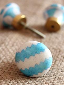 Blue And White Patterned Ceramic Knobs (Set Of 6) - NEERJA