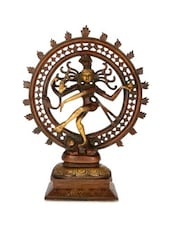 Red Brass Natraj Statue In Antique Finish - By