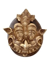 Yellow Brass Yali Face Door Knocker In Antique Finish - By