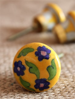 Floral Yellow Ceramic Knobs (Set Of 6) - NEERJA