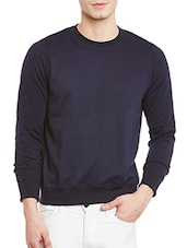 solid navy blue fleece sweatshirt -  online shopping for Sweatshirts