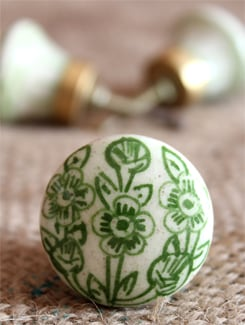 White & Green Floral Motif Knobs (Set Of 6) - NEERJA