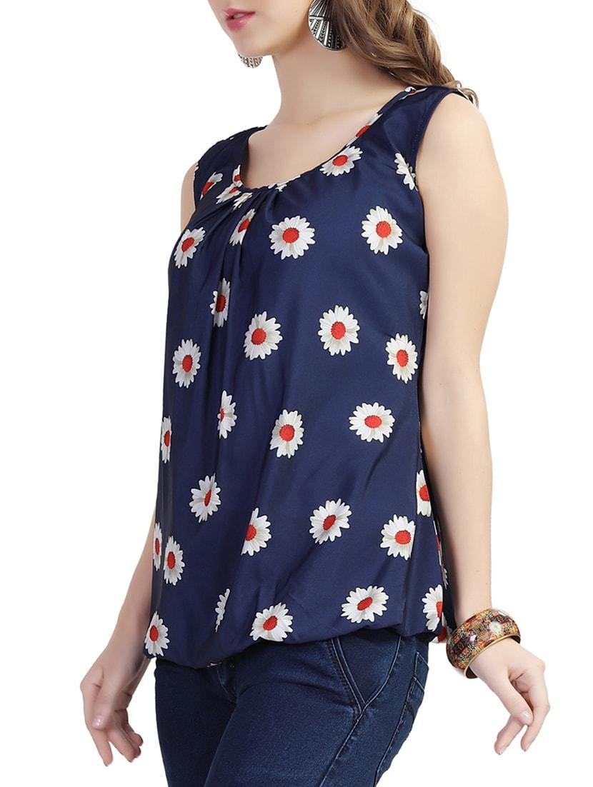 1b901f159fe8 Navy Blue Floral Printed Crepe Top
