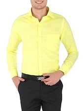 yellow cotton formal shirt -  online shopping for formal shirts