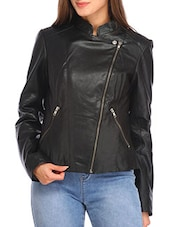 black faux leather jacket -  online shopping for jackets