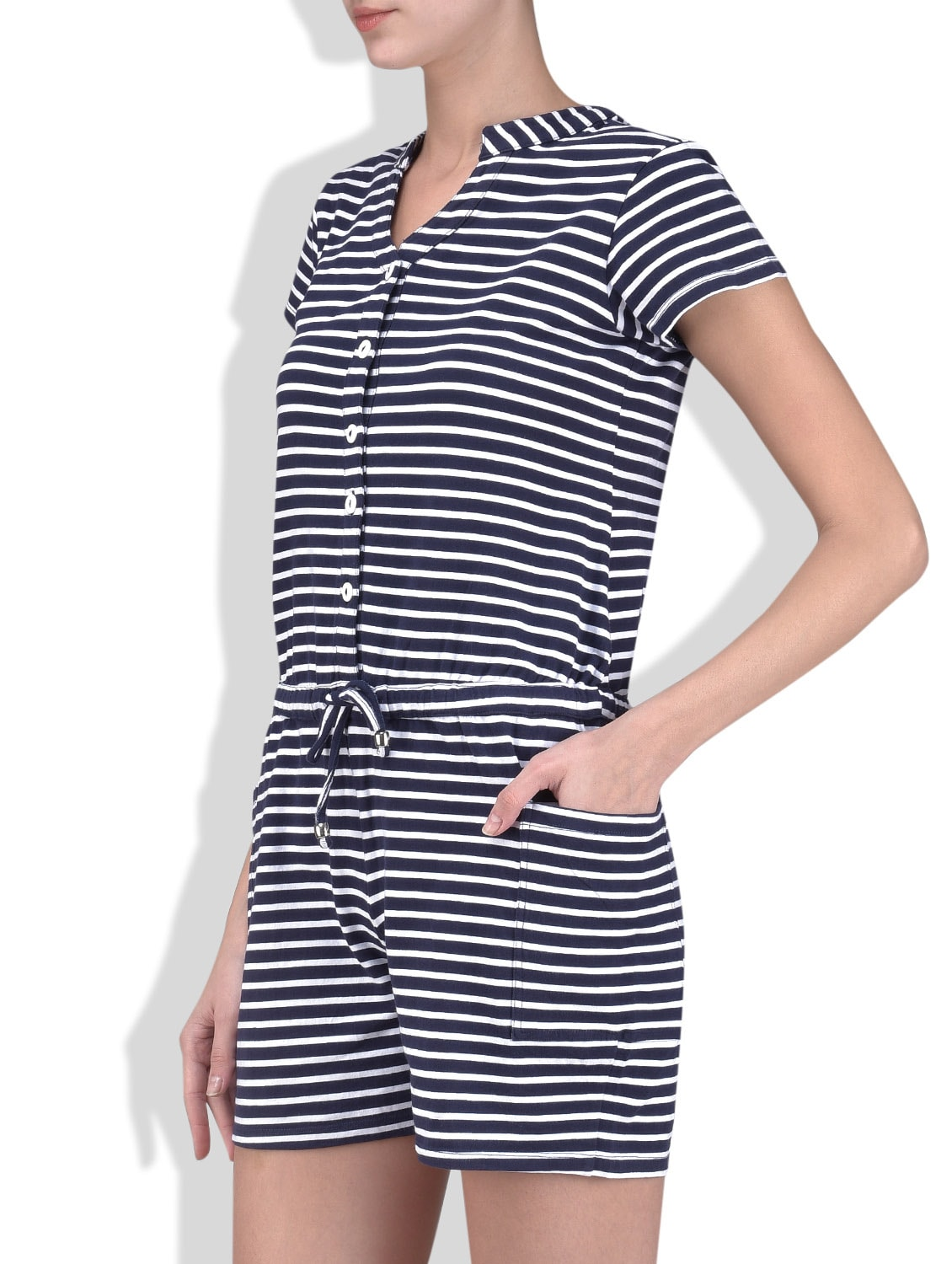 Buy Navy Blue N White Striped Jumpsuit By Peptrends Online