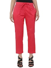 pink khadi cotton cigarette pant -  online shopping for Trousers