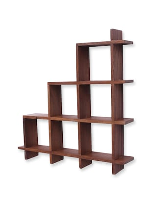 Brown wooden wall hanging rack -  online shopping for Furniture