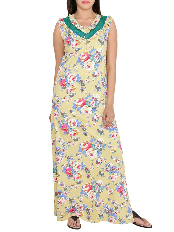 Buy Pale Yellow Floral Printed Cotton Nighty by 9teenagain - Online shopping  for Sleepshirts   Nighties ... f58d1438d