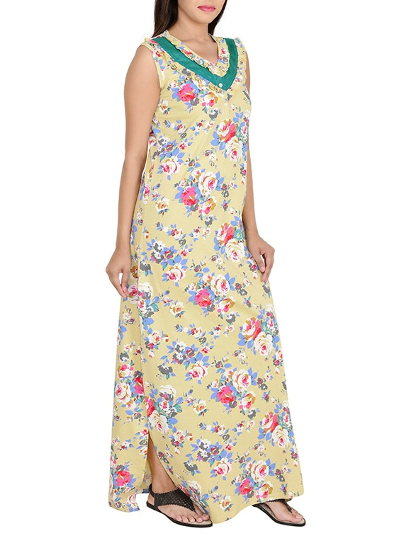new style of 2019 newest style of so cheap pale yellow floral printed cotton nighty