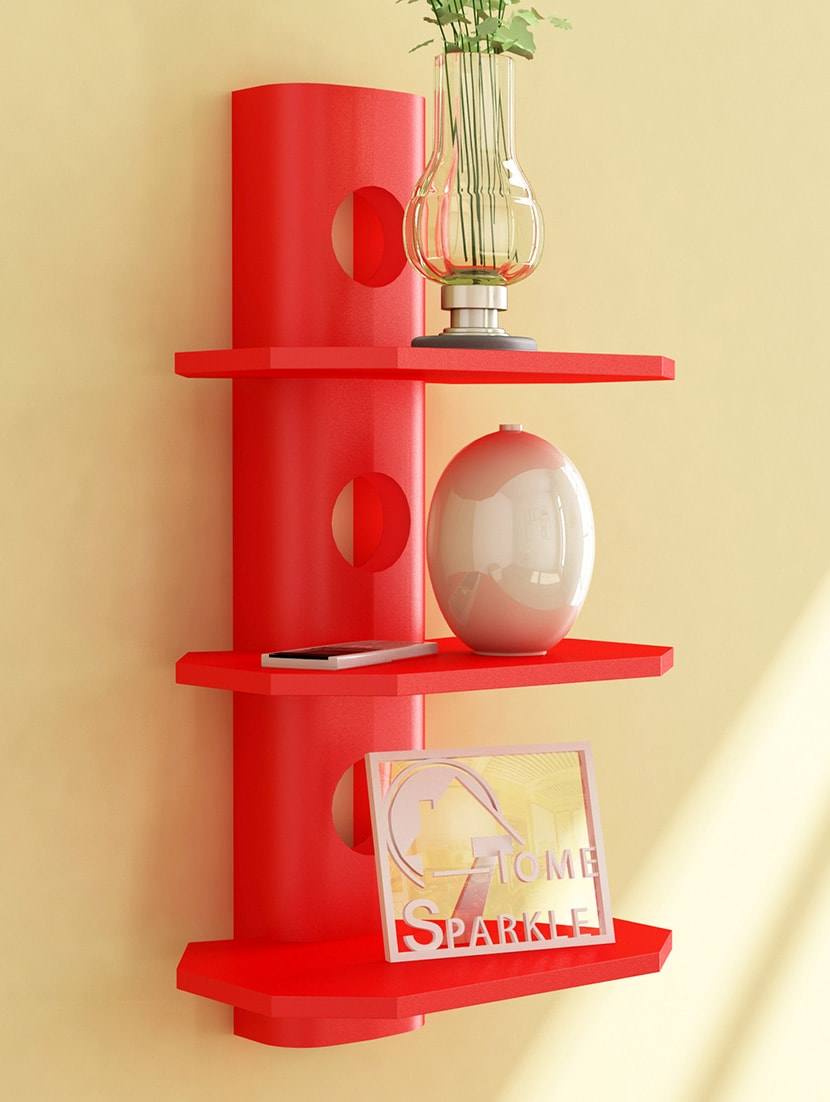 Buy Red Mango Wooden 3 Tier Round Shelf By Home Sparkle   Online Shopping  For Furniture In India | 1245856