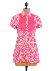 Pink Cotton Viscose Printed Tunic - By