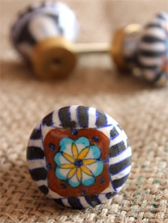 Multi Hued Ceramic Knobs (Set Of 6) - NEERJA