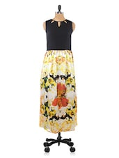 Yellow Floral Print Polyester Dress - By