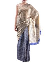 Yellow Printed Bhagalpuri Silk Saree - By