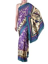 Violet Warli Printed Bhagalpuri Silk Saree - By