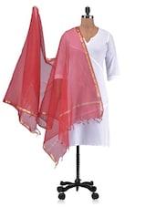 Red Chandheri Silk Plain Dupatta - By