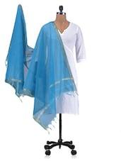 Blue  Chandheri Silk Plain Dupatta - By