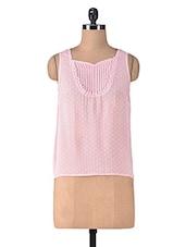 Pink Polygeorgette Laced Top - By