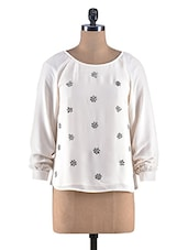 Cream Poly Georgette Embellished Top - By
