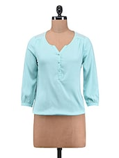 Blue Plain Poly Crepe Poly Georgette Top - By
