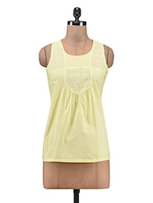 Yellow Plain Cotton Trimmed Lace Trimmed Top - By