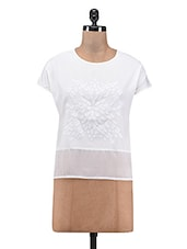 White Applique Poly Crepe Poly Georgette Top - By