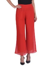 Solid Red Polygeorgette Palazzo - By