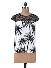 Black And White Palm Print Top - By