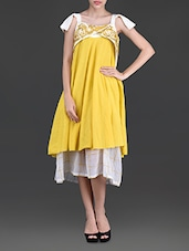Yellow Embroidered Asymmetrical Cotton Dress - By