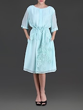 Sea Green Embroidered Georgette Dress - By