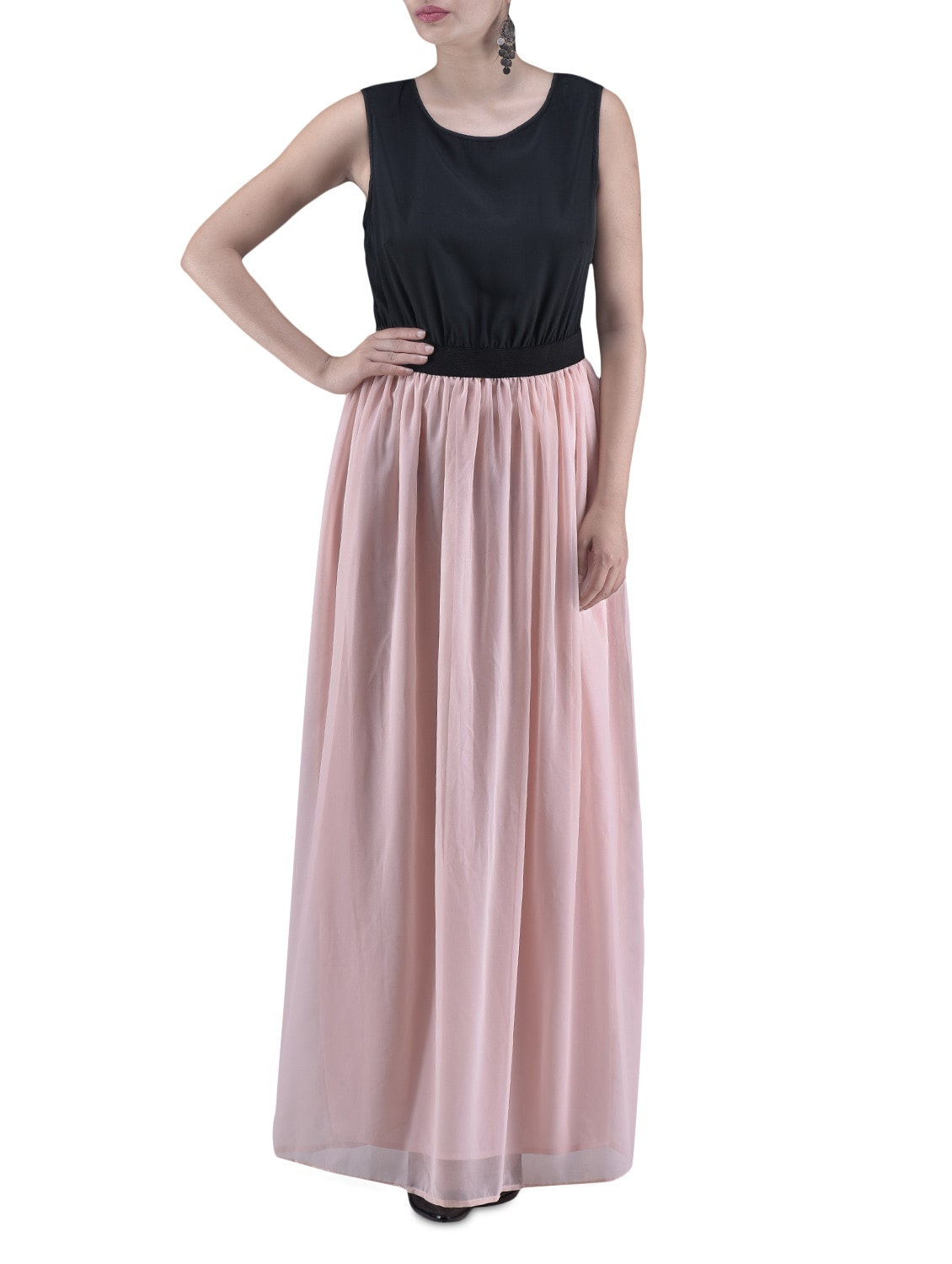 Black And Peach Poly Georgette Maxi Dress - By