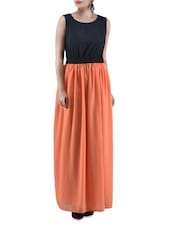 Black And Orange Poly Georgette Maxi Dress - By