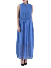 Blue Poly Georgette Maxi Dress - By