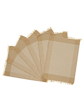 Dhrohar Hand Woven Cotton Table Mat - Pack Of 6 Mats - Beige & Tan - By