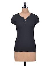 Black Cotton Knit Plain Top - By