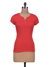 Red Cotton Knit Plain Top - By