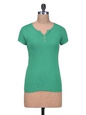 Green Cotton Knit Plain Top - By