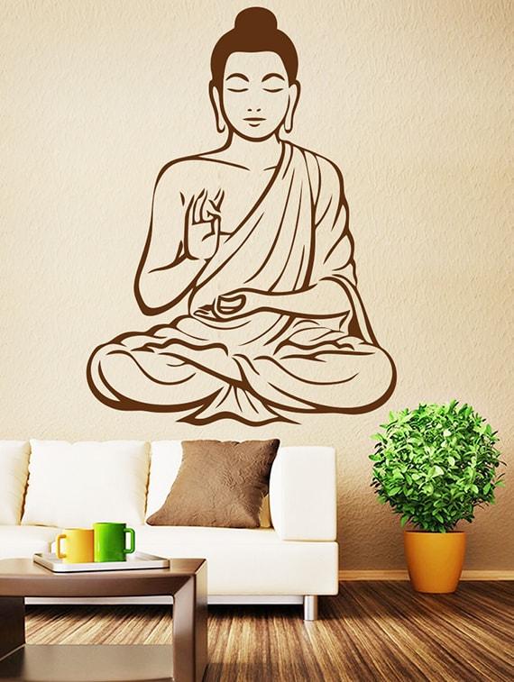 buy wallskart lord buddha brown wall stickerwallskart - online