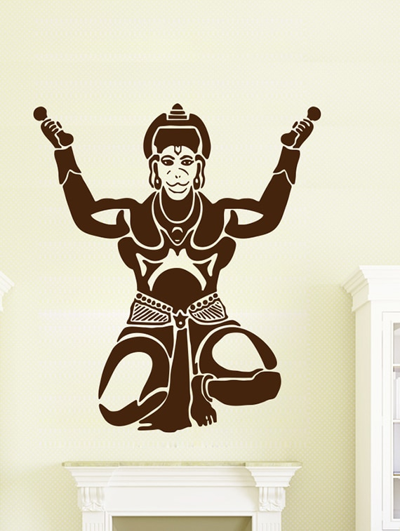 buy wallskart lord hanuman brown wall stickerwallskart - online